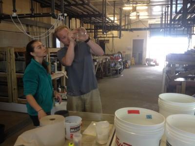 Molly & Chris sampling fish larvae